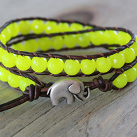 Elephant Bracelet - Leather Beaded Wrap Bracelet - Neon Yellow - Boho Summer Jewelry - Elephant Jewelry