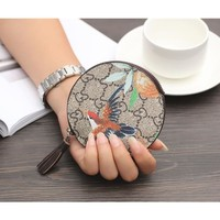 Women Round Small Coin Purse Fashion Print Zip Wallet Mini Key Package