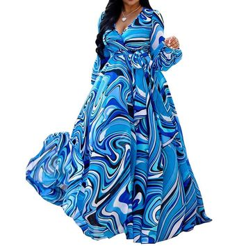 African Women Big Swing Maxi Dress Blue Color Block Floor-Length Dresses Long Lantern Sleeve Sashes V-Neck High Waist Warp Dress