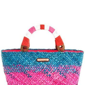 Nicole Lee Two Tone Straw Woven Shopper Bag