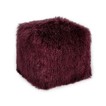 Lamb Fur Pouf Purple Purple