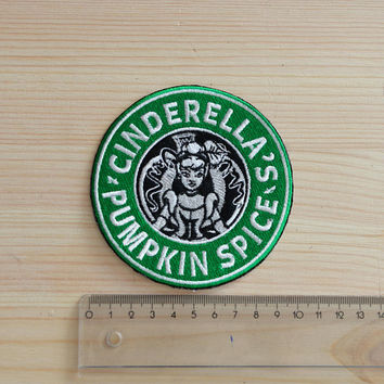 Cinderella inspired Starbucks Coffee patch, Disney patch, Princess patch, Pumpkin patch, Disney Starbucks, Cartoon patch, Sew on, Iron On