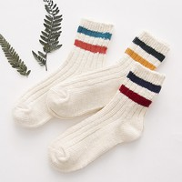 Women's Cotton Two Stripe Crew Socks