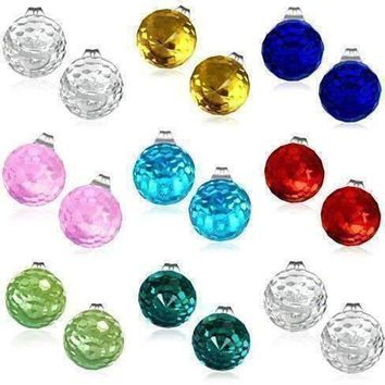 Disco Ball Faceted Crystal Stud Earrings - Eight Colors!