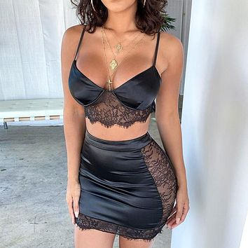 Summer  New Fashion Women Lace Top And Skirt Two Piece Suit Black