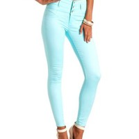 "Refuge ""Hi-Waist Super Skinny"" Colored Jeans - Blue Tint"