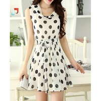 Stylish Scoop Neck Sleeveless Chiffon Polka Dot Women's Dress