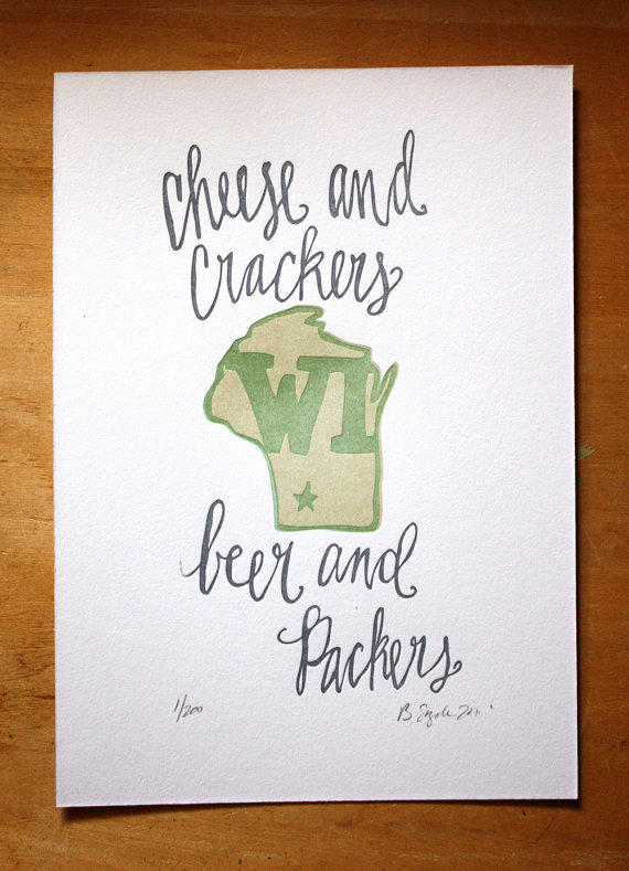 Wisconsin State Series Letterpress Print