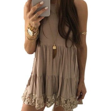Women Summer Dress Female Sexy Sleeveless Lace Boho Beach Dress Casual Loose Short Mini Dress vestido 2017 Women Clothing