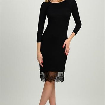 SOLID DRESS WITH LACE HEM