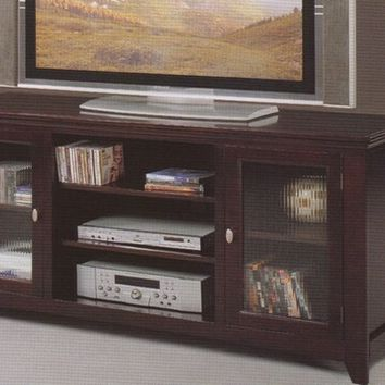 A.M.B. Furniture & Design :: Living room furniture :: TV Stands :: Espresso finish wood TV stand with glass front doors