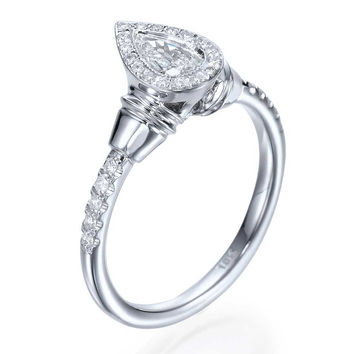 Halo Pear Shaped Diamond Antique Vintage Engagement Ring