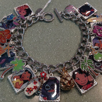 Disney's Lilo and Stitch Altered Art Charm Bracelet Silver I