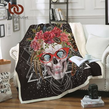 BeddingOutlet Sugar Skull with Glasses Blanket Pop Art Bedding Sofa Plaid Velvet Plush Blanket for Beds 150x200cm manta