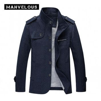 Manvelous Wool Coat Men Winter Fashion Casual Loose Thin Stand Collar Jackets Long Sleeve Pockets Wool Blends Mens Trench Coats