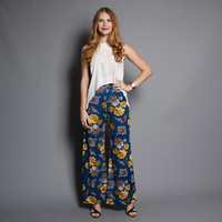 60s Floral PALAZZO PANTS / High Waist Wide Leg Flared Trousers, xs