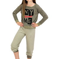 Dirtee Hollywood NY Loves ME Striped Sweatshirt | Mod Angel