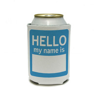 Hello My Name Is Blue - Birthday Can Cooler Drink Insulator Beverage Insulated Holder