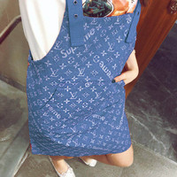 LV Overalls Women X Supreme Jumpsuit Print Dress B/A Blue