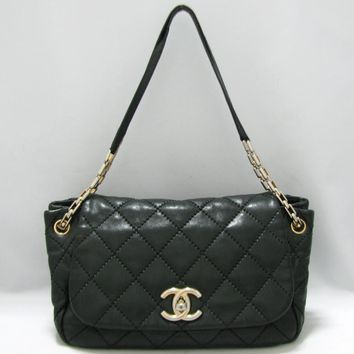 CHANEL GHW Chain Shoulder Bag Quilted Calfskin Leather Black