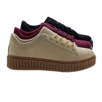Caleb02 By Wild Diva, Lace Up Sneaker w Rubber Texture Ridges Thick Platform Sole