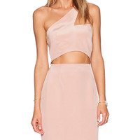 OLCAY GULSEN One Sleeve Cut-Out Dress in Blush