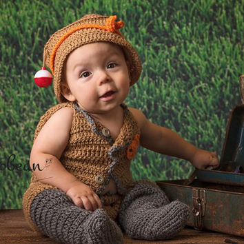 Baby Fisherman Outfit, Fishing, Fishing Baby, Fish, Fish Photography Prop, Newborn to 6 Months, Photography Prop, Photo Prop