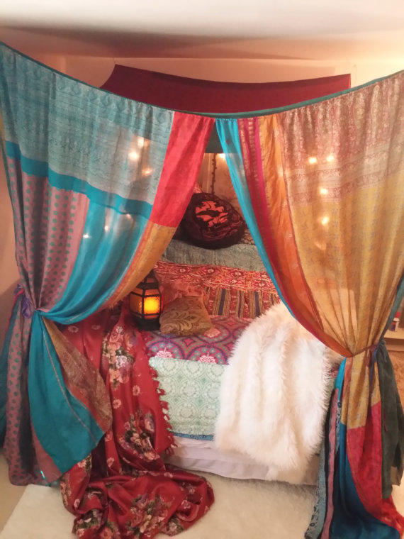 Boho Bed Canopy Gypsy Hippie Hippy From Hippiewild On Etsy