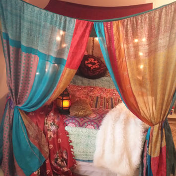 Boho Bed Canopy Gypsy Hippie Hippy HippieWild Patchwork India Sari Scarves Bedroom Dec : boho bed canopy - memphite.com
