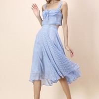 Catch the Breeze Top and Skirt Set in Blue Gingham
