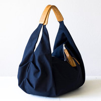 Large hobo bag  slouch bag  hobo bag  in dark blue by milloo