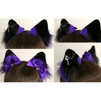 Fluffy Purple & Black Tipped Fox Ears (Includes Chain Piercing) - Kitten's Playpen