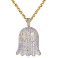 14k Gold Finish Iced Out Designer Logo Ghost Emoji Pendant Chain