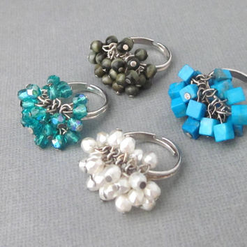 Cluster Rings White Pearl, Blue Green Crystal, Olive Green Cats Eye, Turquoise Howlite Cube With Gift Box Adjustable