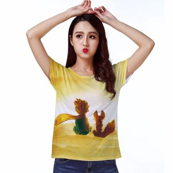 Track Ship+Vintage Retro T-shirt Top Tee Fairy Tale Little Prince Friend Fox Sit on Planet to Watch Sunrise Stars 0993