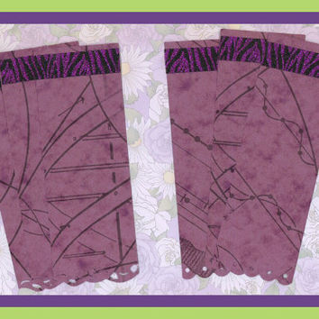 BOOKMARK Gift Enclosures 6 Tiger Glitter Die Cut Border Scrapbooking Card Stock Purple Wine