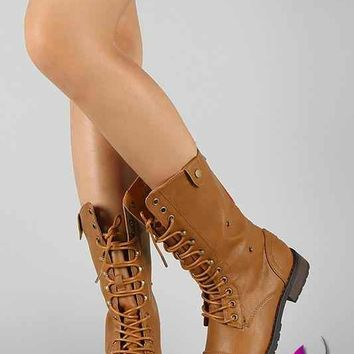 Plaid Lace Up Military Boot