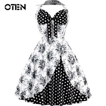 OTEN Sexy Summer Vintage Halter Dress Women Bowknot floral printed 1950s Rockabilly Audrey Retro Swing Tea Party tunics Dresses