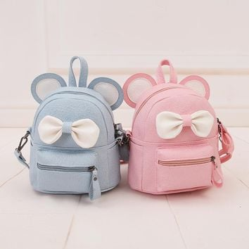 Mouse backpack 2017 new Female bag Quality pu leather Women Backpack Mickey ears Sweet girl bow College Wind Travel Rucksack