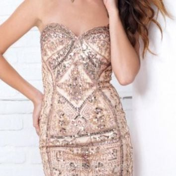 Ornate Beaded Mini Prom Gown by Tony Bowls Shorts