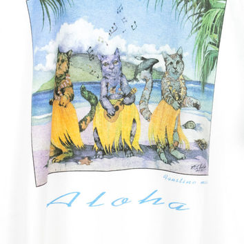 90s ALOHA CATS shirt / vintage 1990s tee / maui hawaii hawaiian beach surf surfer / vaporwave art / ocean nature cat whale / funny / L