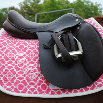English custom saddle pad. Made to order, personalized, can be made to match riding clothes.