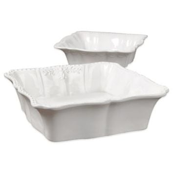 Tabletops Unlimited® Gallery Le Provence 2-Piece Square Baker Set in White