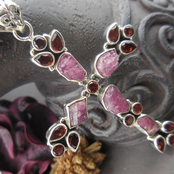 Tourmaline & Garnet Sterling Silver Cross Pendant