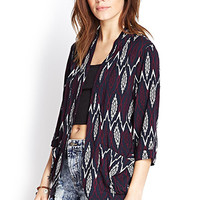 FOREVER 21 Tribal Print Kimono Dark Navy/Grape Medium