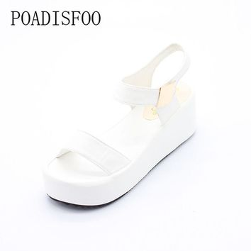 2017 Summer New Korean Version Of The high-heeled Wedge Heel Slippers Black Sandals Ro