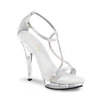 Pleaser Lip-156 silver platform high heel
