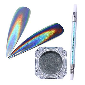 BORN PRETTY Peacock Holographic Chameleon Nail Powder Mirror Nail Art Chrome Pigment Glitters (1g...