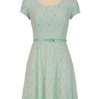 Belted Cap Sleeve Lace Dress