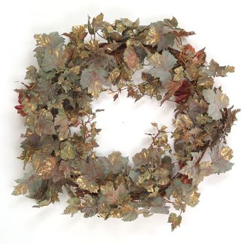Frosted Normandy Grape Leaf Wreath in Gold Nutmeg